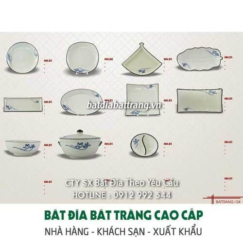 Bộ bát đĩa vẽ sen xanh - Bát đĩa gốm sứ Bát Tràng cao cấp