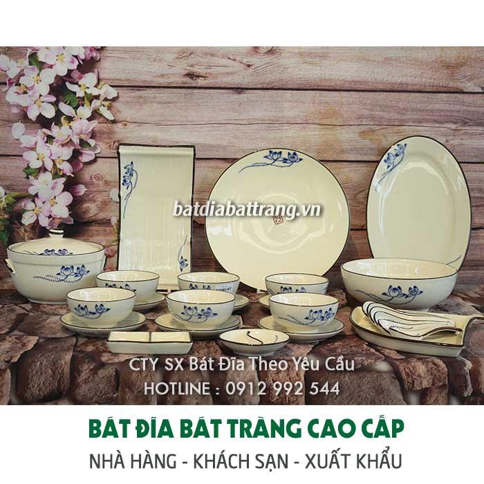 Bộ bát đĩa Bát Tràng màu trắng cho nhà hàng cao cấp