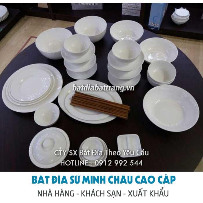 Ở đâu bán bộ bát đĩa sứ xương cao cấp cho nhà hàng, khách sạn?