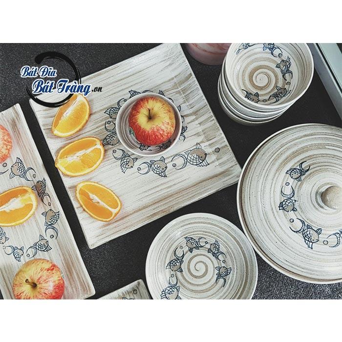 Bộ bát đĩa men gốm sọc vẽ cá, BỘ QUÀ TẶNG CHÉN GỐM SỨ CAO CẤP BÁT TRÀNG