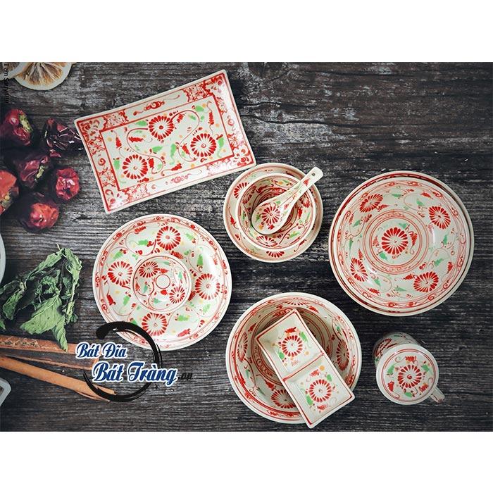 Bộ bát đĩa vẽ hoa cúc đỏ, BỘ BÁT ĐĨA VẼ HOA CÚC ĐỎ BÁT ĐĨA GỐM SỨ BÁT TRÀNG CAO CẤP NHÀ HÀNG - KHÁCH SẠN