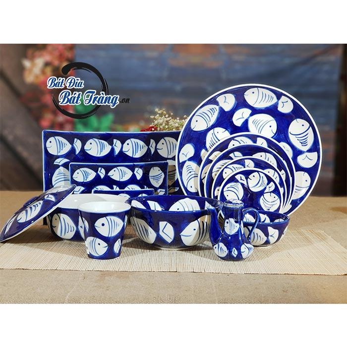 Bộ bát đĩa men xanh vẽ cá