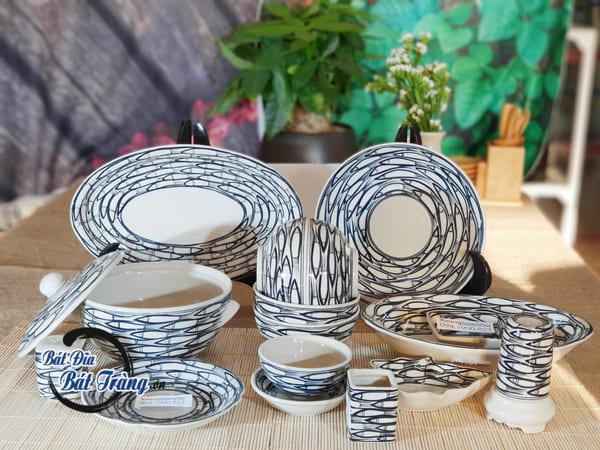 Bộ bát đĩa gốm sứ vẽ cá cao cấp từ Bát Tràng dành cho nhà hàng khách sạn
