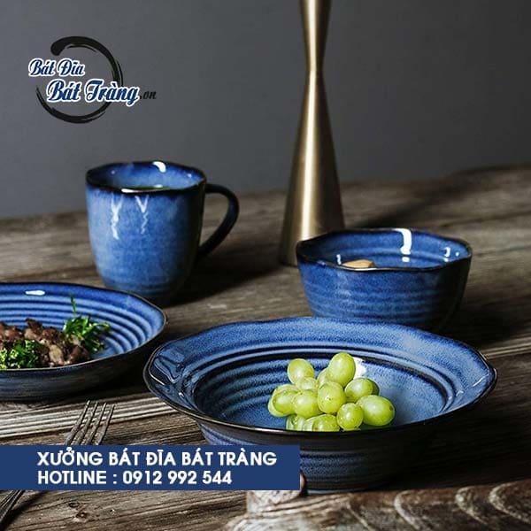 Bộ bát đĩa men xanh sọc cobalt, Ly cốc gốm sứ có quai dáng cao men đá xanh