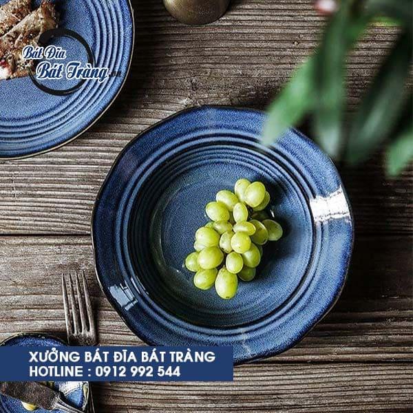Bộ bát đĩa men xanh sọc cobalt