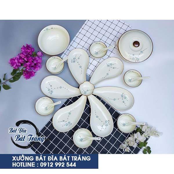 Bộ bát đĩa vẽ hoa mai xanh