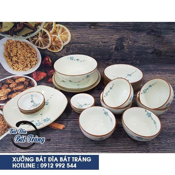 Bộ bát đĩa vẽ hoa mai xanh, Mua bộ bàn ăn bát đĩa gốm sứ Bát Tràng làm quà tặng tân gia