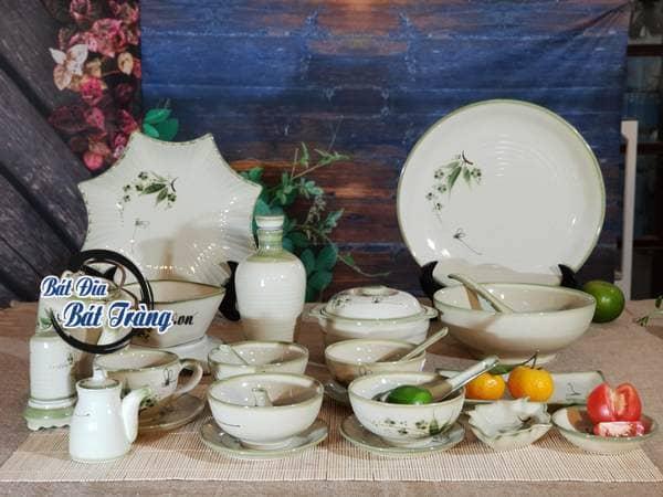 Bộ bàn ăn men xanh vẽ lá trúc đào chuồn - Bát đĩa Bát Tràng, Bộ quà tặng gốm sứ chất lượng từ xưởng sản xuất bát đĩa Bát Tràng