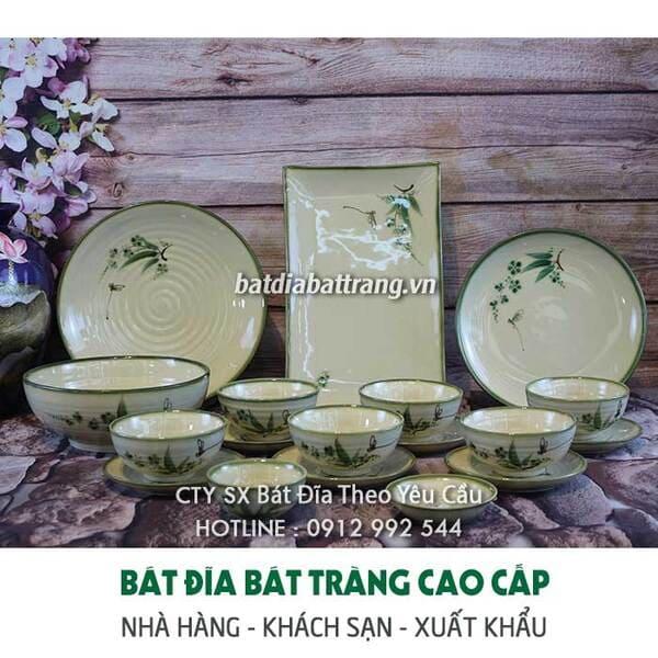 Bộ bát đĩa vẽ lá trúc xanh, Bộ quà tặng gốm sứ chất lượng từ xưởng sản xuất bát đĩa Bát Tràng