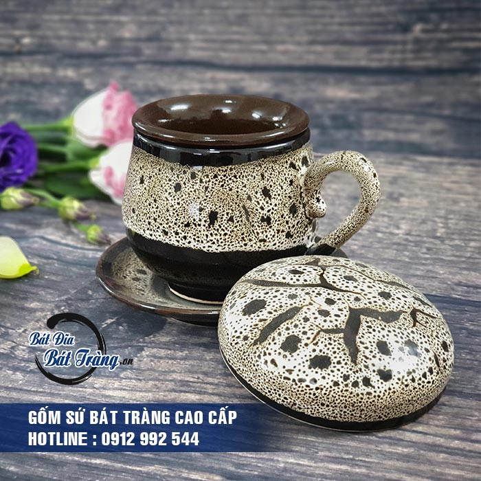 Tách cafe gốm sứ độc đáo (kèm đĩa lót, nắp, lọc), LY CỐC TÁCH CAFE GỐM SỨ BÁT TRÀNG