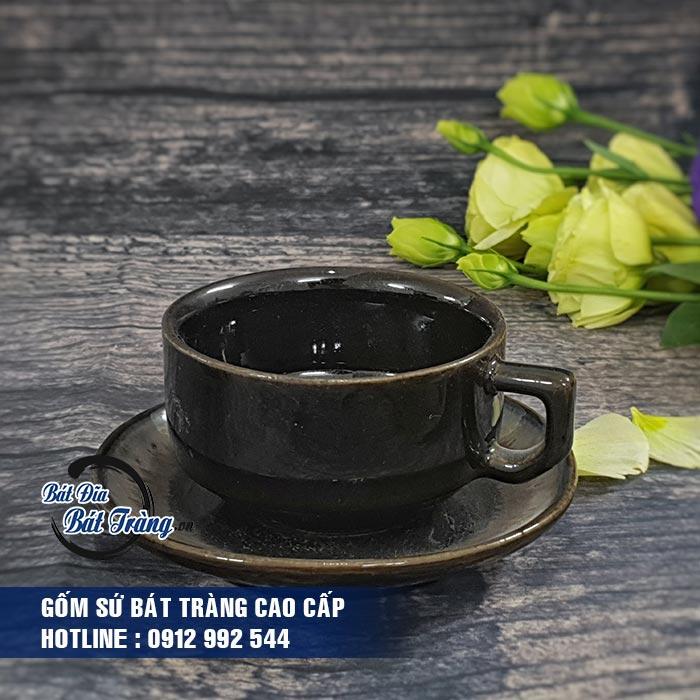 Tách cafe gốm sứ dáng thấp men nâu đen. TÁCH CAFE GỐM SỨ DÁNG THẤP MEN NÂU ĐEN LY CỐC TÁCH GỐM SỨ BÁT TRÀNG CAO CẤP - LY SỨ CAFE, LY SỨ IN LOGO
