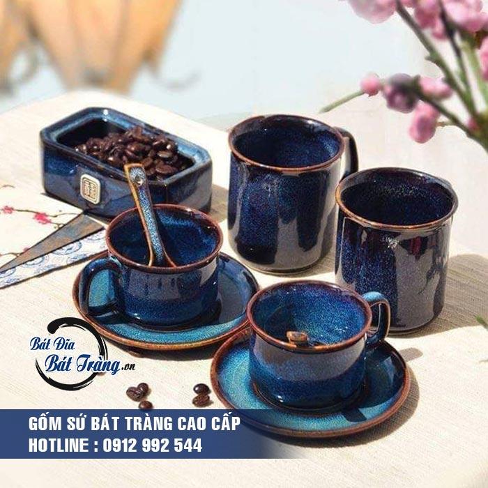 Bộ tách cafe men đá xanh kèm đĩa lót