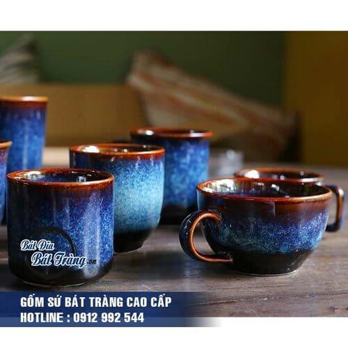 Cốc tách cà phê gốm sứ men đá xanh, Ly tách gốm sứ men đá xanh có quai
