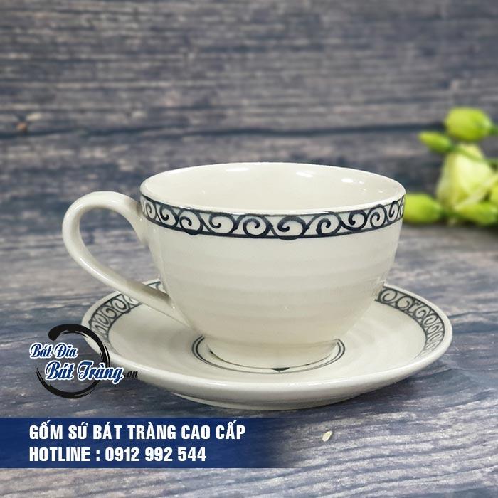 Tách cà phê gốm sứ Bát Tràng kèm đĩa lót, LY CỐC TÁCH CAFE GỐM SỨ BÁT TRÀNG