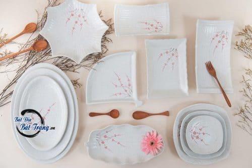 Bộ bàn ăn hoa đào