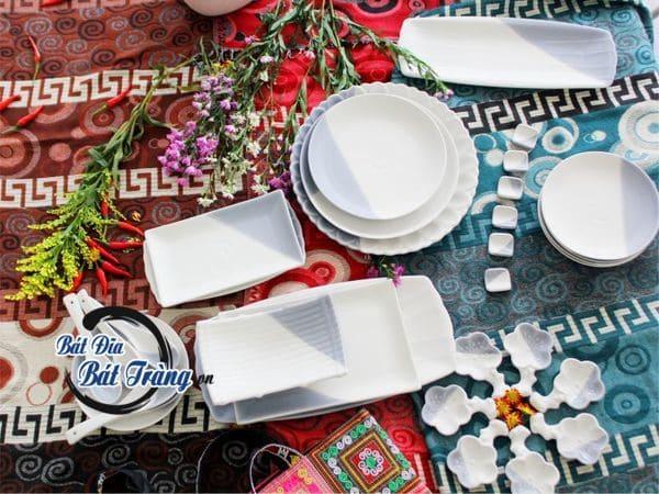 Cung cấp bát đĩa sứ trắng, bộ tô chén đĩa sứ tráng men màu cho nhà hàng