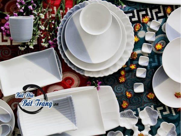 Bộ bát dĩa men mát ghi - Bộ bàn ăn Bát Tràng