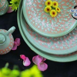 Bộ bát đĩa men xanh coban Bát Tràng