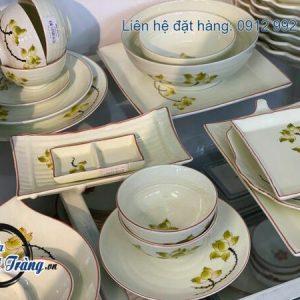 bộ bát đĩa sen vàng
