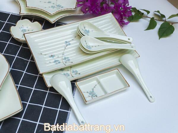 Bộ bát đĩa men trắng đào xanh
