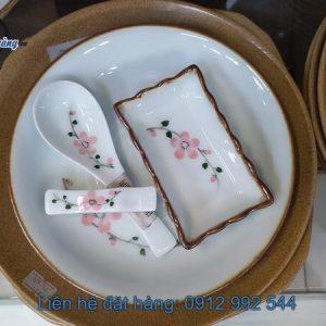 bộ bát đĩa hoa đào hồng viền nâu