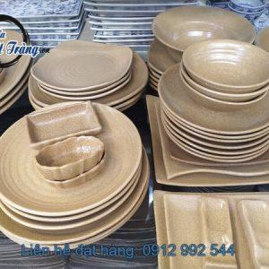 bộ bát đĩa gốm vàng nâu