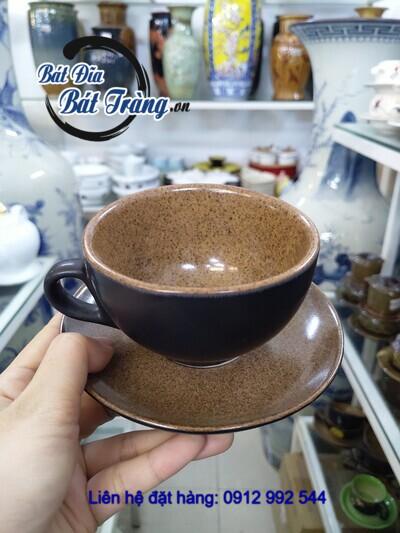bộ tách đĩa capuchino men gốm đen nâu