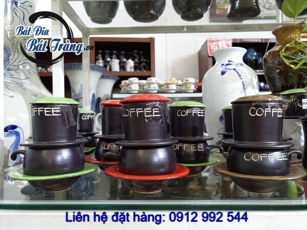 bộ coffee lõm phin thấp men màu