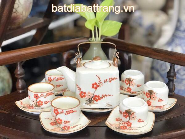 Bộ ấm trà hoa đào đỏ