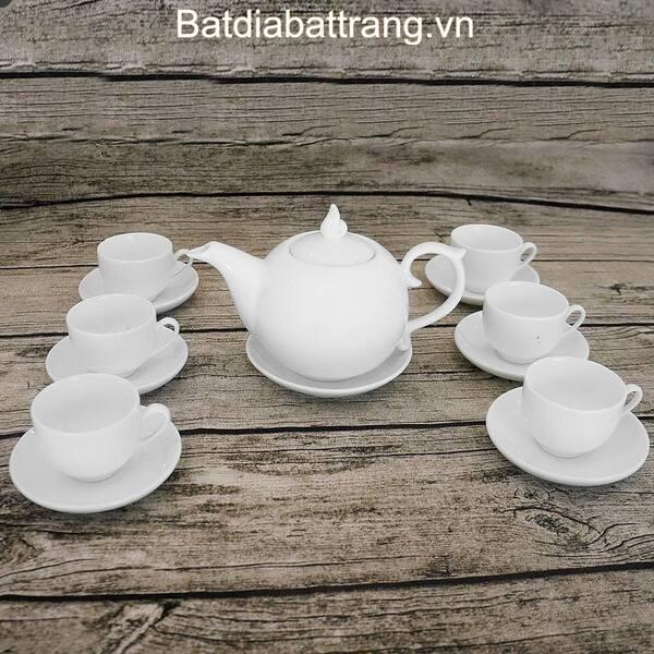 Bộ ấm trà sứ trắng in logo