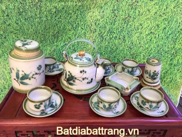 Bộ ấm trà vẽ lá trúc