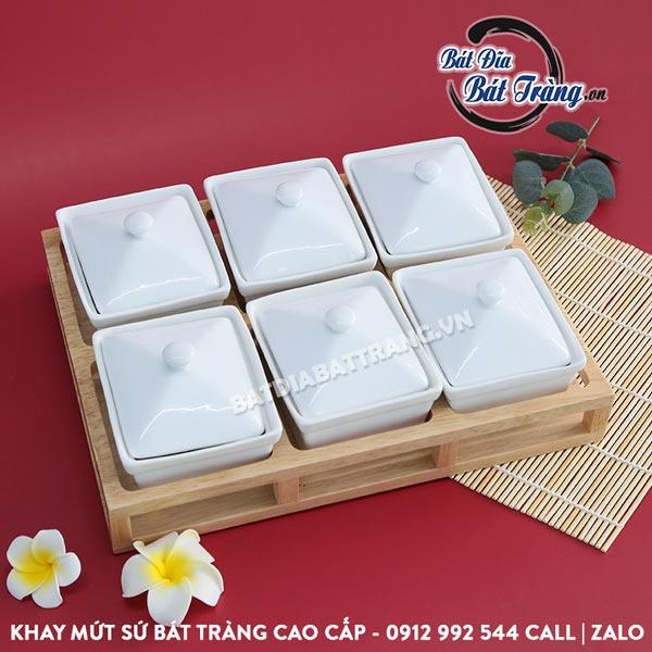 Khay đựng bánh kẹo sứ chữ nhật 6 ngăn kèm khay gỗ - Bát đĩa Bát Tràng