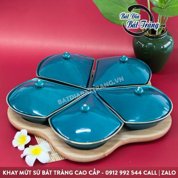 Khay mứt bằng sứ đẹp hoa mai 5 cánh kèm khay gỗ - Bát đĩa Bát Tràng
