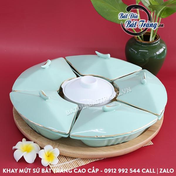 Khay đựng mứt sứ 6 ngăn kèm khay gỗ tròn - Bát đĩa Bát Tràng