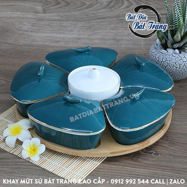 Khay mứt hoa mai sứ viền vàng kèm khay gỗ - Bát đĩa Bát Tràng, Khay đựng mứt tết - Khay mứt sứ đẹp