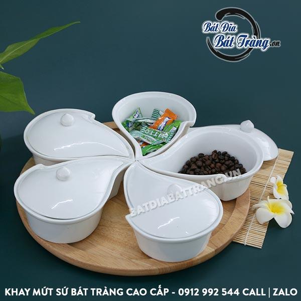 Khay mứt sứ xoáy cao cấp 5 ngăn kèm khay gỗ - Bát đĩa Bát Tràng