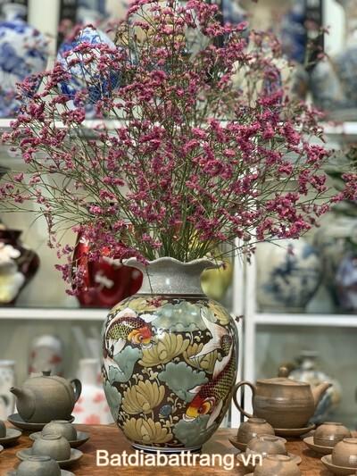 Bình gốm cắm hoa men rạn