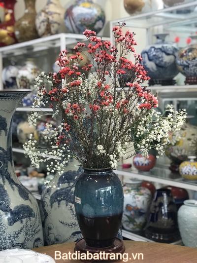 Bình gốm cắm hoa men hỏa biến cao cấp