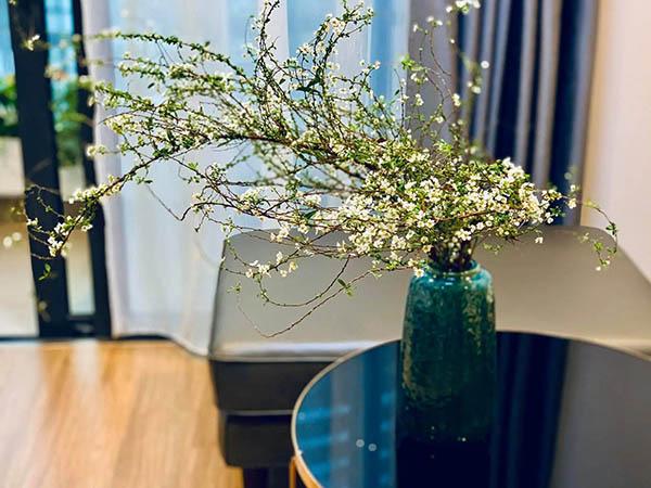Cách cắm hoa Tuyết Mai bằng bình gốm