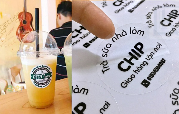 In decal dán ly nhựa, tem dán ly trà sữa