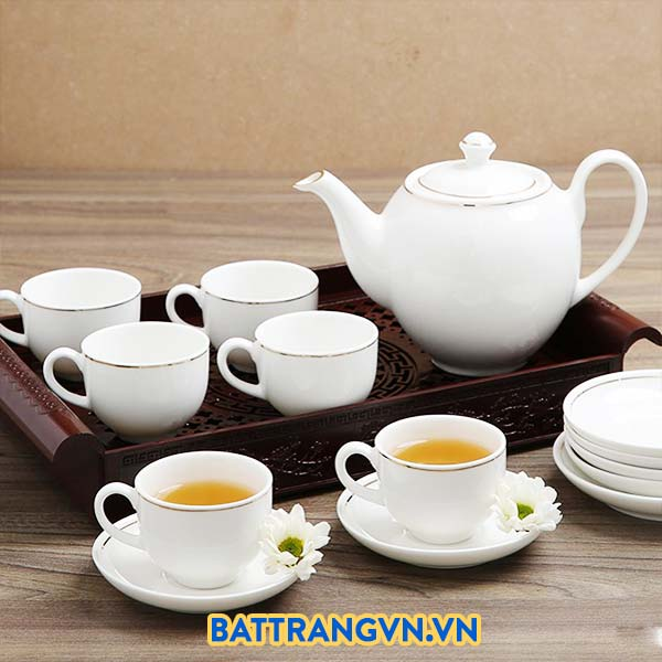 Ấm chén trà sứ trắng viền kim
